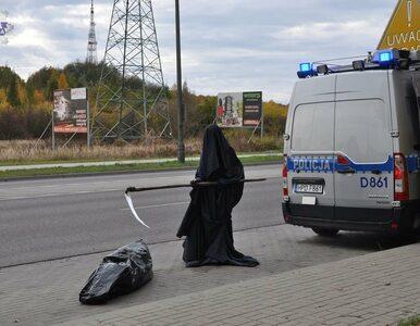 """Szokująca akcja policji. Śmierć z kosą i worek ze """"zwłokami"""""""