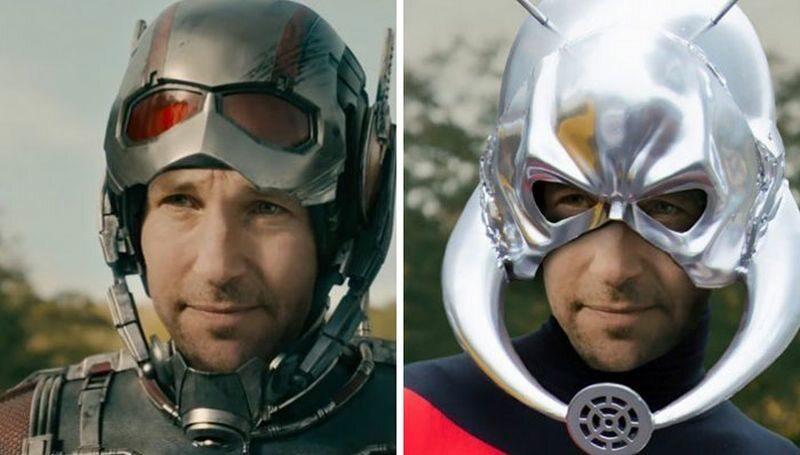 Ant-Man (po lewej w filmie, po prawej zgodnie z komiksem)
