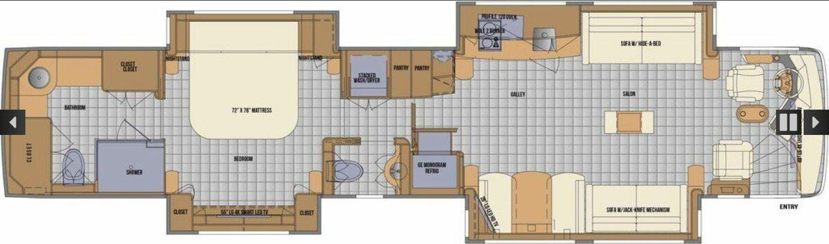 Wnętrze kampera 2020 Newell Coach p50 rozrysowane na planie