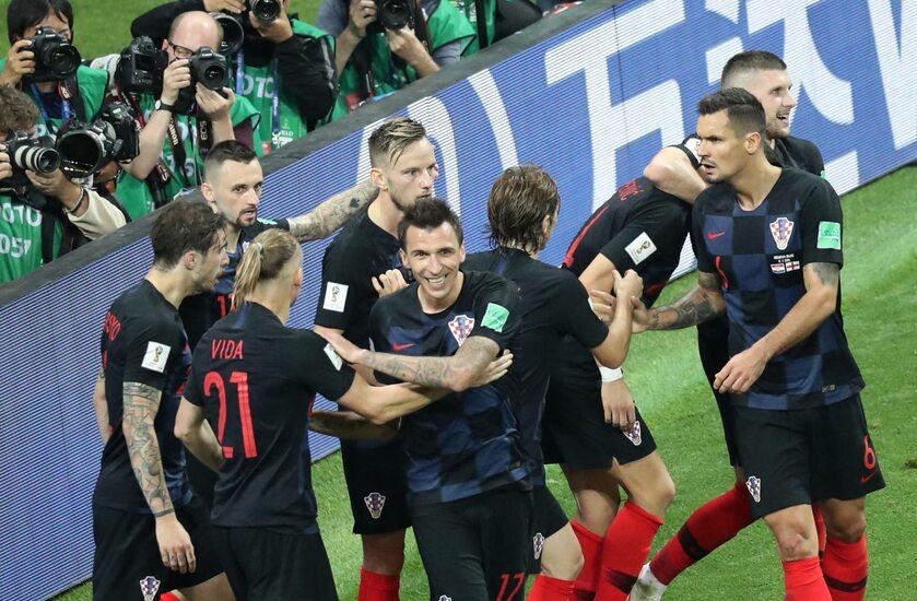 Piłkarze Chorwacji po zdobytym golu
