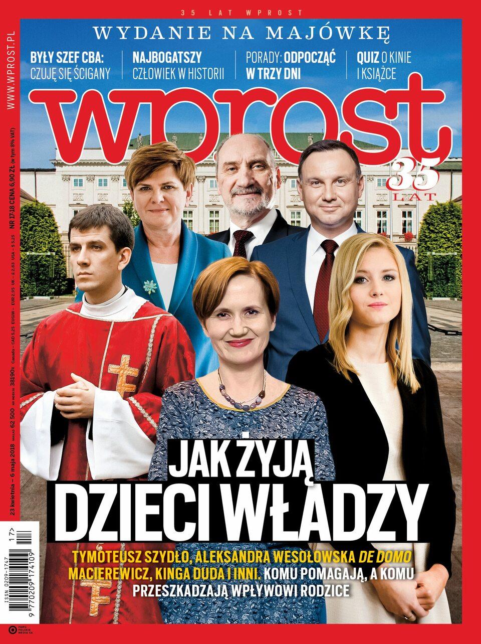 """Okładka """"Wprost"""" nr 17/2018"""