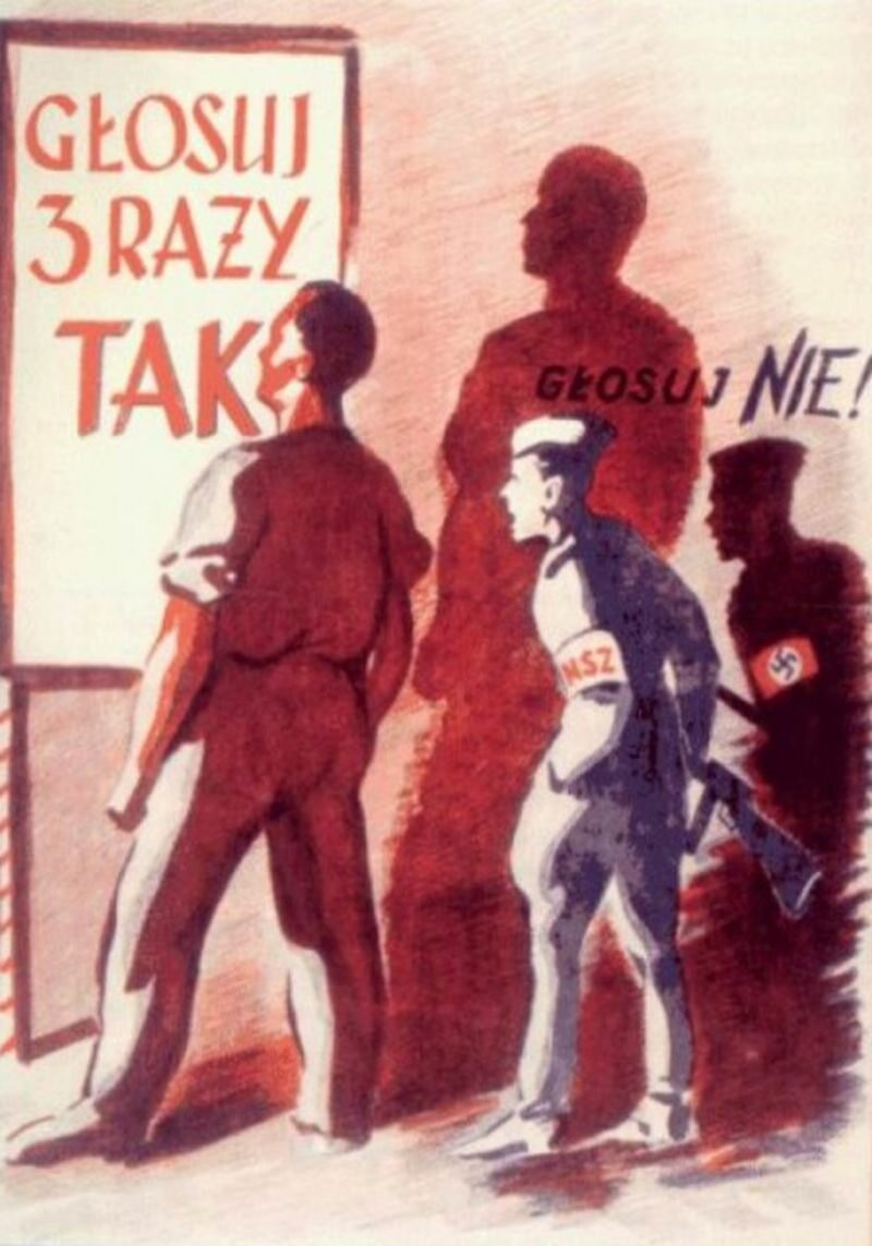 3 x TAK 30 czerwca 1946 r. w Polsce odbyło się referendum, w którym głosujący mieli odpowiedzieć na trzy pytania: czy znieść Senat, czy znacjonalizować podstawowe gałęzie gospodarki i czy utrwalić granice na Bałtyku, Odrze i Nysie Łużyckiej.