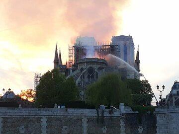 """Politycy komentują pożar katedry Notre Dame. """"Cóż to za smutny..."""