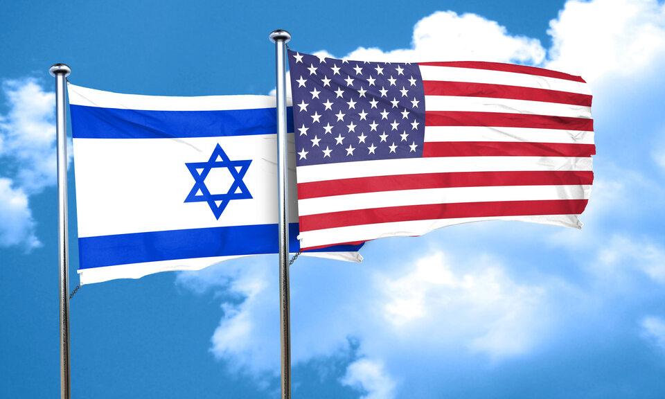 Flagi Izraela i USA