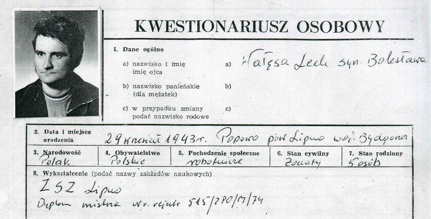 Kwestionariusz Wałęsy